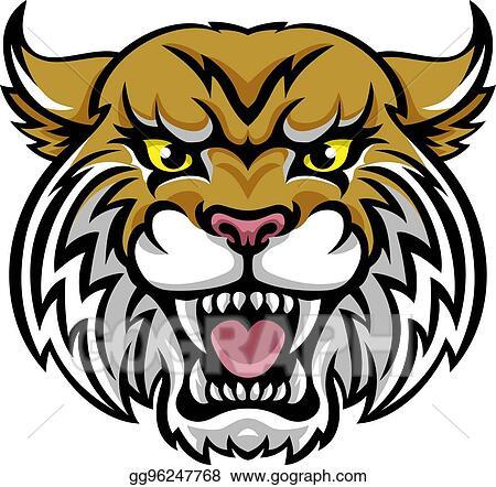 vector art wildcat bobcat mascot eps clipart gg96247768 gograph rh gograph com Wildcat Mascot Paw Print wildcat mascot clipart free