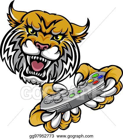 vector art wildcat bobcat player gamer mascot clipart drawing rh gograph com wildcat mascot clipart free