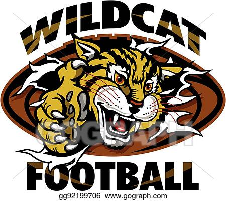 Wildcat football mascot holding ball in claw for school,... vector - Search Clip  Art, Illustration, Drawings and EPS Graphic… | Wildcats football, Wild  cats, Mascot