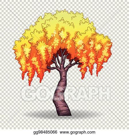 eps vector willow tree on transparent background stock clipart