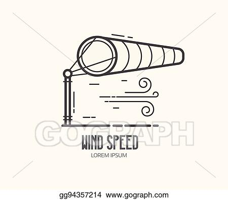 Vector Illustration - Wind speed logo with windsock. EPS Clipart ...