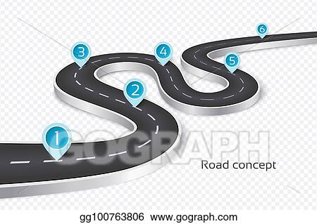 winding 3d road infographic concept on a white background timeline template