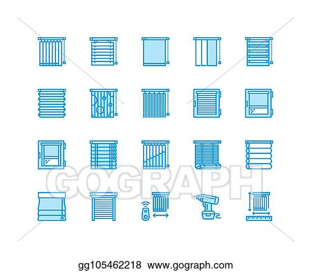 Vector Clipart Window Blinds Shades Line Icons Various