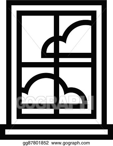 vector clipart window frame with glass pane vector illustration rh gograph com window pane clip art window pane clip art black and white