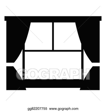 Vector Clipart   Window With Curtains Simple Icon Isolated On White  Background. Vector Illustration Gg82207755