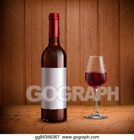 eps vector wine bottle template with glass of red wine stock