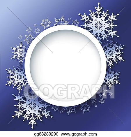 Vector Illustration - Winter background, frame with 3d ornate ...
