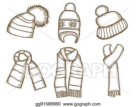 Vector Clipart - Winter clothes. santa stocking cap. Vector ... 075d4cbacb1a