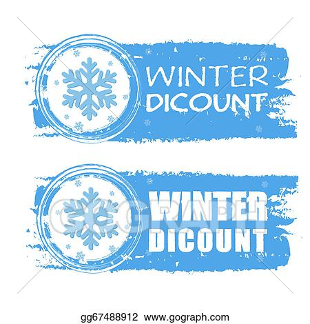 Stock Illustration Winter Discount With Snowflake On Blue Drawn