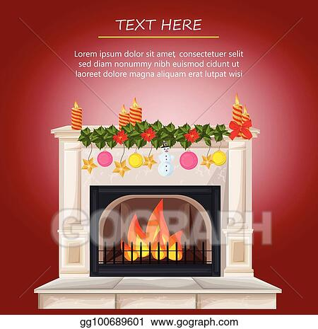 Vector Illustration - Winter fireplace chimney and christmas