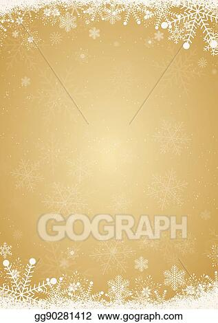 stock illustration winter gold christmas background with snowflake
