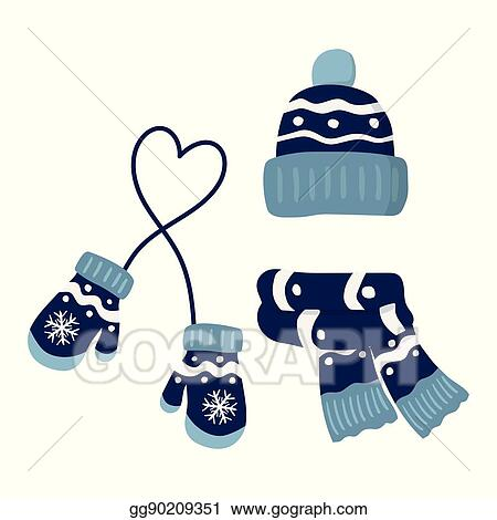 2ba584c35b3 Vector Clipart - Winter knitted mittens