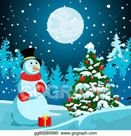 Christmas Eve Clipart.Eps Illustration Winter Landscape Christmas Night New