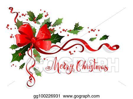 Merry Christmas Ribbon Clipart.Vector Art Winter Merry Christmas Decor Clipart Drawing