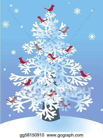 winter pine with red birds - Red Bird Christmas Tree Decorations