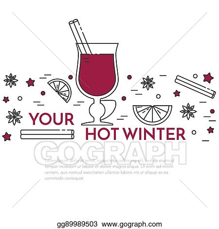 Vector Art Winter Sales Mulled Wine Banner Linear Style Clipart Drawing Gg89989503 Gograph