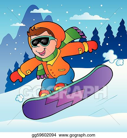 Vector Clipart Winter Scene With Boy On Snowboard Vector Illustration Gg59602094 Gograph