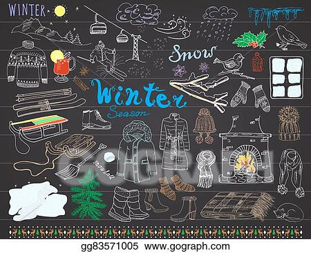 a4eb41a3ad73 Clipart - Winter season set doodles elements. hand drawn set with ...
