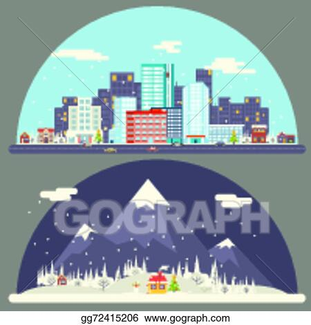 winter snow urban countryside landscape city village real estate new year christmas night and day background modern flat design icon template vector