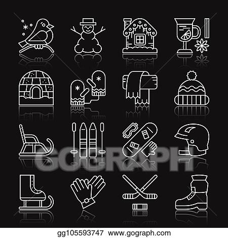 1950cce85e0b Vector Illustration - Winter sport activity outdoor thin line icon ...