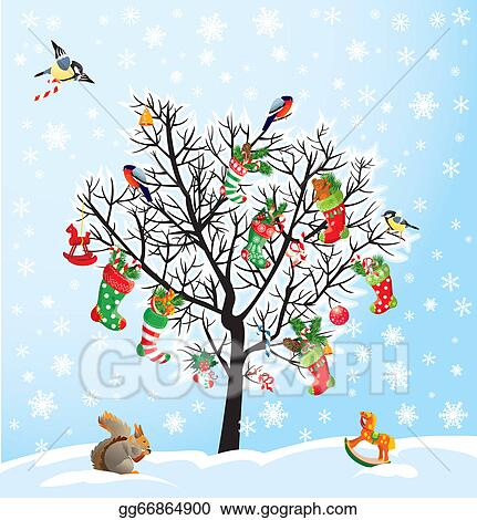 winter tree with birds squirrel xmas shoes candies and presents christmas and new year card