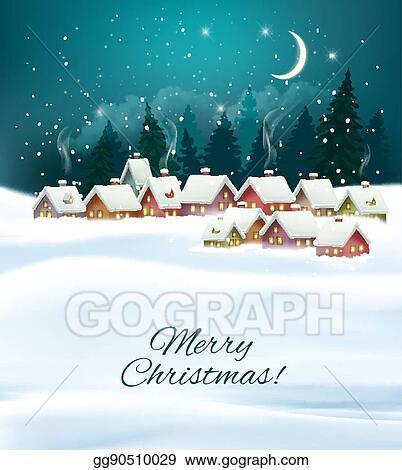 Christmas Background Clipart.Eps Illustration Winter Village Night Christmas Background