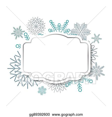 EPS Vector - Winter vintage label on snowflakes background