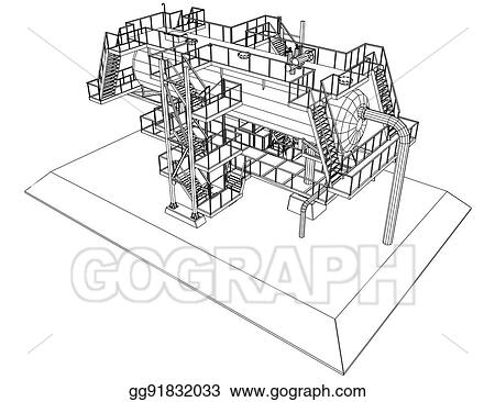 EPS Illustration - Wire-frame oil and gas industrial equipment ...