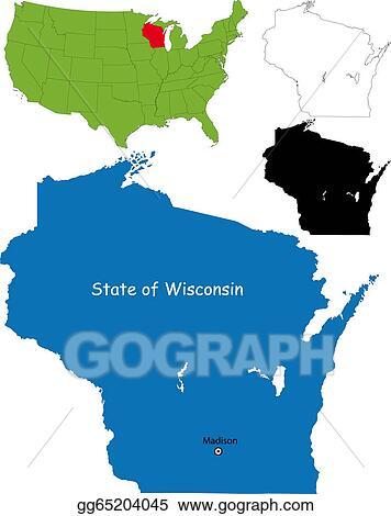 EPS Vector - Wisconsin map. Stock Clipart Illustration gg65204045 ...