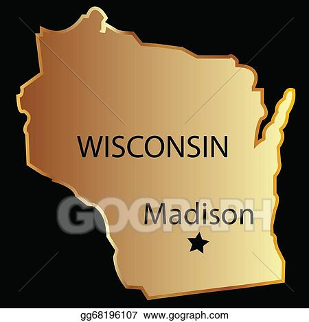 Vector Illustration Wisconsin state usa map EPS Clipart