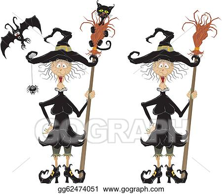 Vector Illustration - Witch and witchery  Stock Clip Art