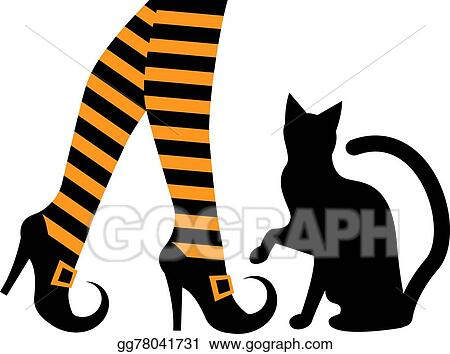 EPS Vector - Witches feet and a black cat. Stock Clipart ... 205a4dbd2