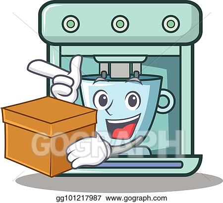 Vector Art With Box Coffee Maker Character Cartoon Clipart Drawing Gg101217987 Gograph