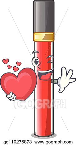 Vector Stock With Heart Lip Gloss In Dompeet Mekaup Cartoons Clipart Illustration Gg110276873 Gograph