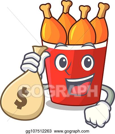 Vector Illustration With Money Bag Character Bucket Chicken Fried