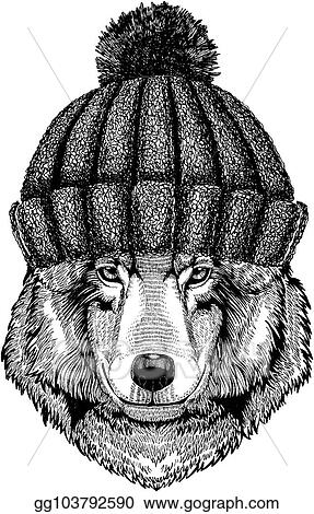 Eps Vector Wolf Dog Cool Animal Wearing Knitted Winter Hat Warm 92d37a7fd2c4