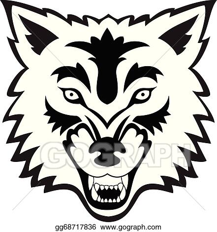 Wolf face. Vector illustration tattoo eps