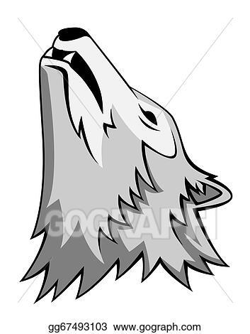Clip Art Vector Wolf Howling Stock Eps Gg67493103 Gograph