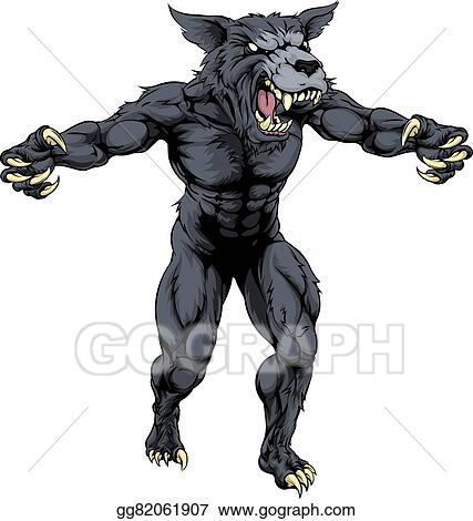 Vector Illustration Wolf Man With Claws Out Stock Clip Art
