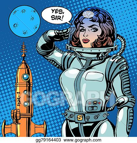 vector clipart woman astronaut captain of a spaceship science rh gograph com science fiction genre clipart Science Fiction Stock Characters