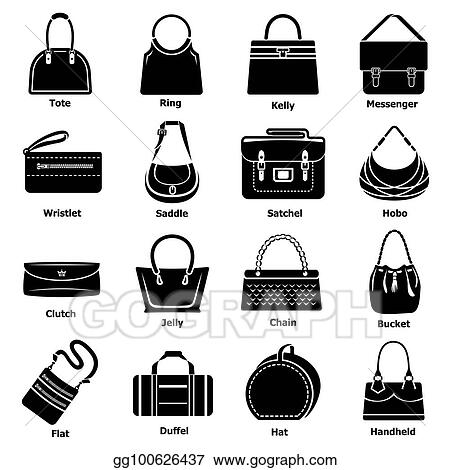 7a072ab529 Stock Illustration - Woman bag types icons set