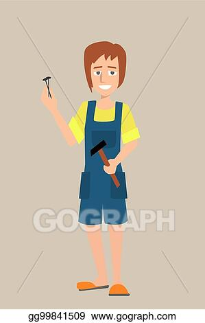 Vector Stock , Woman character with hammer and nails. Stock