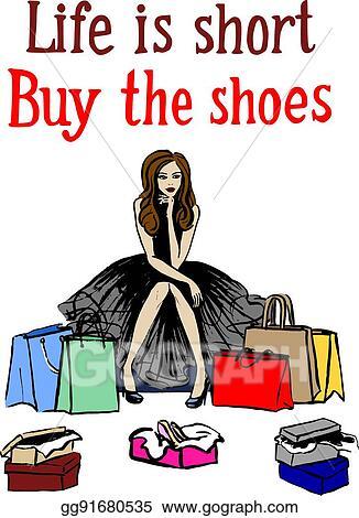Vector Clipart Woman Choosing Shoes Vector Illustration