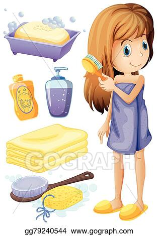EPS Vector Woman Combing Hair And Bathroom Set Stock Clipart Custom Bathroom Clipart Set