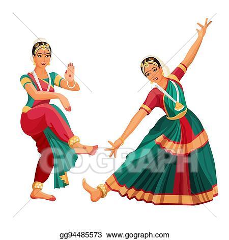 Vector Art Woman Dancer In National Indian Cloth Dancing Bharatanatyam Folk Dance Clipart Drawing Gg94485573 Gograph