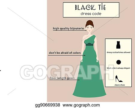 Woman Dress Code Infographic Black Tie Female In Evening Long Gown