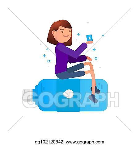 Vector Illustration - Woman drinks water  protection against