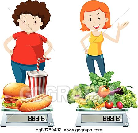 Vector Art Woman Eating Healthy And Unhealthy Food Clipart Drawing Gg83789432 Gograph