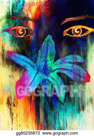 Stock Illustration Woman Eyes With Flower Color Pencil Drawing Eye Contact Computer Collage Clipart Gg85235873 Gograph