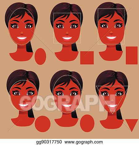 Miraculous Vector Illustration Woman Face Shape Types Stock Clip Art Natural Hairstyles Runnerswayorg